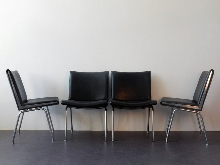 1960s Set of 4 AP 40 Airport Chairs by Hans Wegner for AP Stolen, Denmark, 1950s For Sale