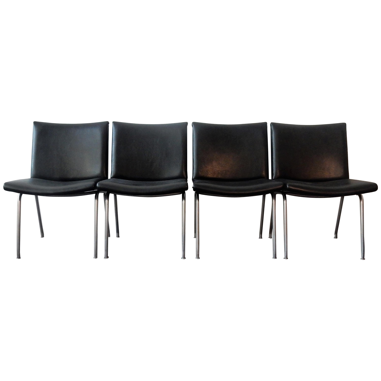 Set of 4 AP 40 Airport Chairs by Hans Wegner for AP Stolen, Denmark, 1950s