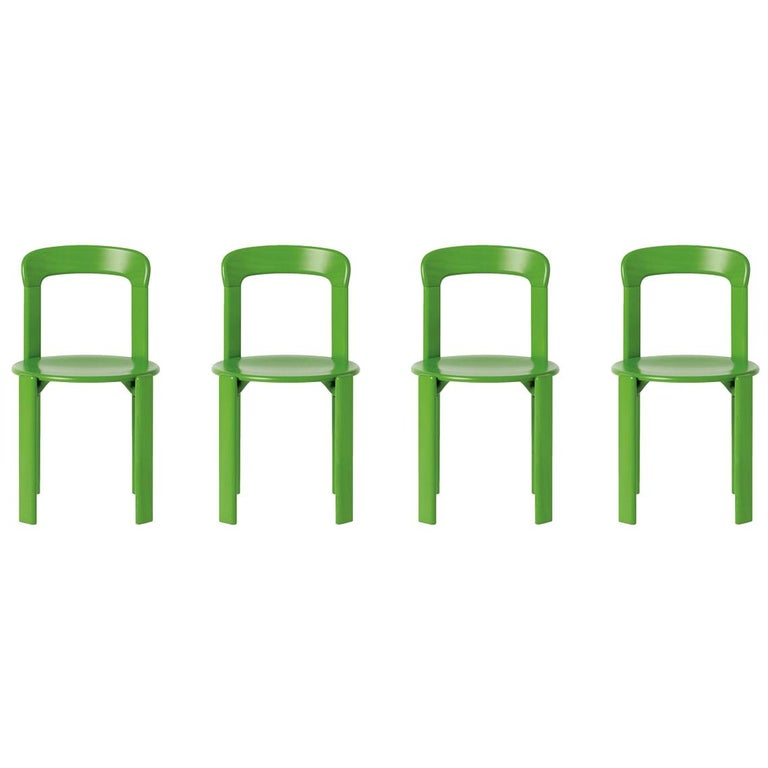 Set of 4 Apple Green Rey Chairs by Dietiker, a Swiss Icon Since 1971 For Sale
