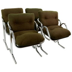 Set of 4 Arcadia Chrome Dining Chairs Designed by Jerry Johnson