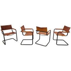Set of 4 Armchairs by Mart Stam for Fasem, Model MG5, 1980s