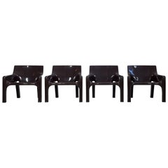 """Set of 4 Armchairs """"Vicario"""" in Brown Plastic by Vico Magistretti, Artemide"""