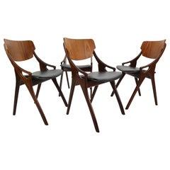 Set of 4 Arne Hovmand Olsen for Mogens Kold Dining Room Chairs, Denmark, 1960s