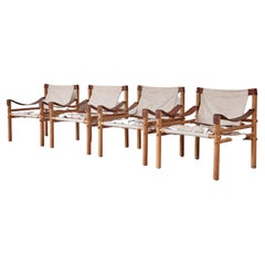Set of 4 Arne Norell Safari Sirocco Lounge Chairs, Norell Mobel, Sweden, 1970s