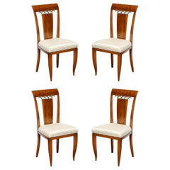 Set of 4 Art Deco Directoire Style Chairs in Bookmatched Walnut w/ Bronze Detail