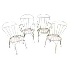 Set of 4 Art Deco Francois Carre French Sunburst Chairs