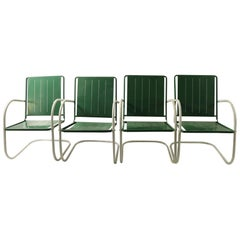Set of 4 Art Deco Patio Garden Lawn Chairs