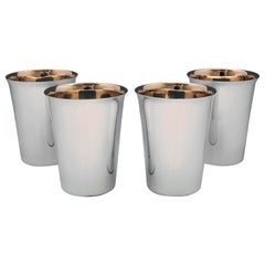 Set of 4 Art Deco Sterling Silver Beakers Hallmarked in London in 1934