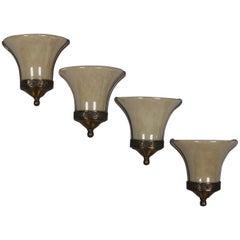 Set von 4 Art-Deco-Stil Torchère Elektrisch Schirme Wandleuchter, 20. Jahrhundert