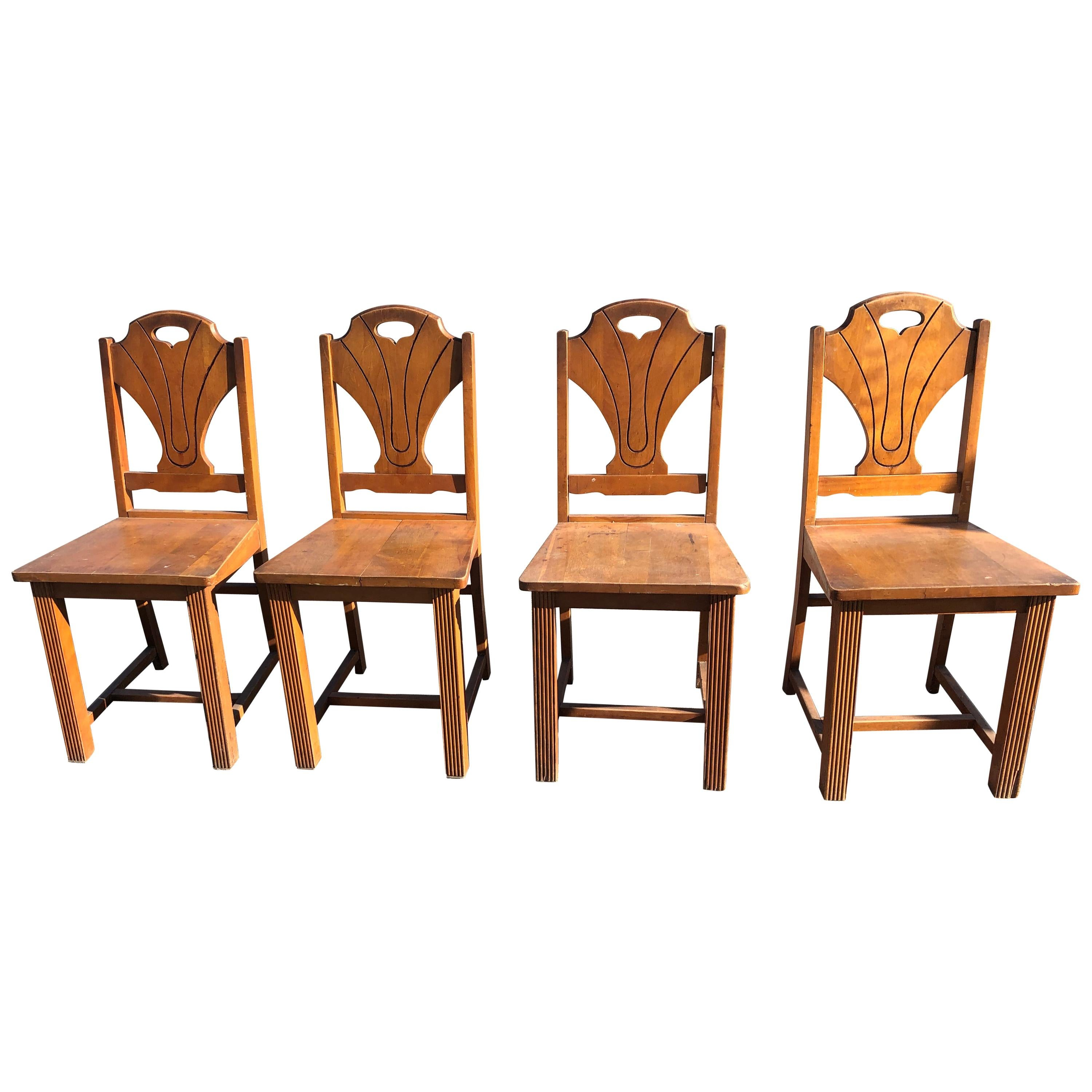 Set of 4 Art Deco Style Wooden Side Dining Chairs