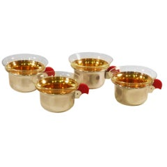 Set of 4 Art Deco Teacups with Chrome, Brass and Bakelite, 1920s