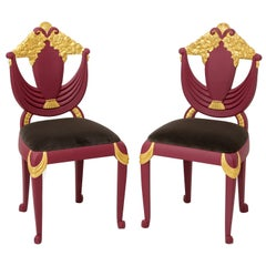Set of 4 Art Deco Transitional Burgundy and Gold Leaf Gilded Wood Dining Chairs