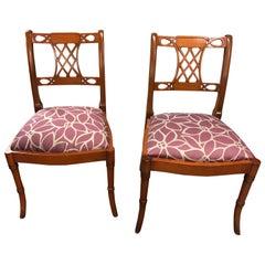 Set Of 4 Art Nouveau Rosewood Chairs ,Biedermeier, Reupholstered, circa 1980