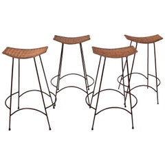 Set of 4 Arthur Umanoff Style Steel & Rattan Stacking Bar Stools, C. 1970