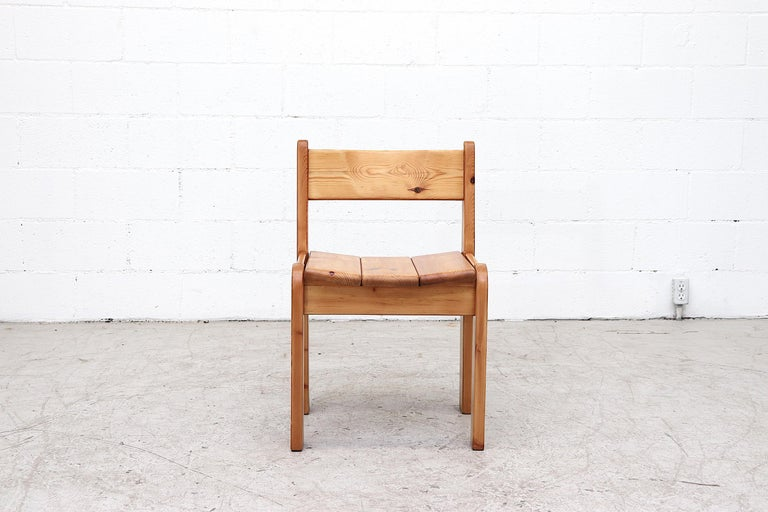 Mid-Century Modern Set of 4 Ate Van Apeldoorn Style Pine Dining Chairs For Sale