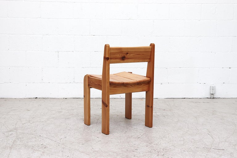 Set of 4 Ate Van Apeldoorn Style Pine Dining Chairs In Good Condition For Sale In Los Angeles, CA