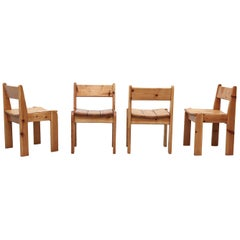 Set of 4 Ate Van Apeldoorn Style Pine Dining Chairs
