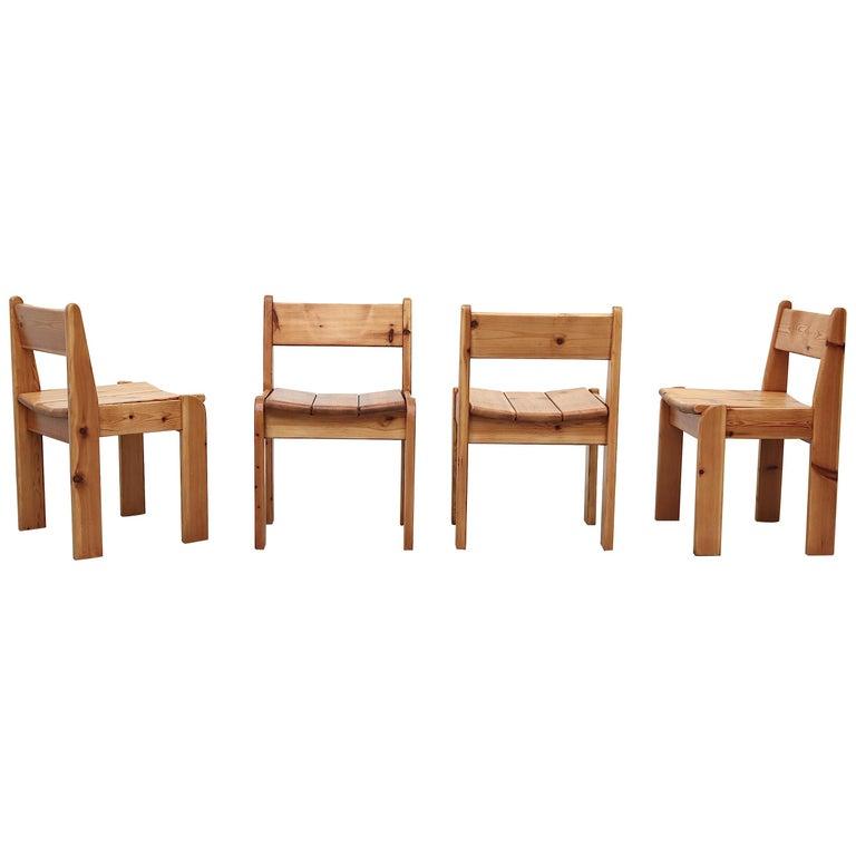 Set of 4 Ate Van Apeldoorn Style Pine Dining Chairs For Sale