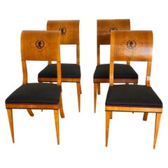 Set of 4 Austrian Scrolled Back Side Chairs with Ebony Inlaid Silhouettes