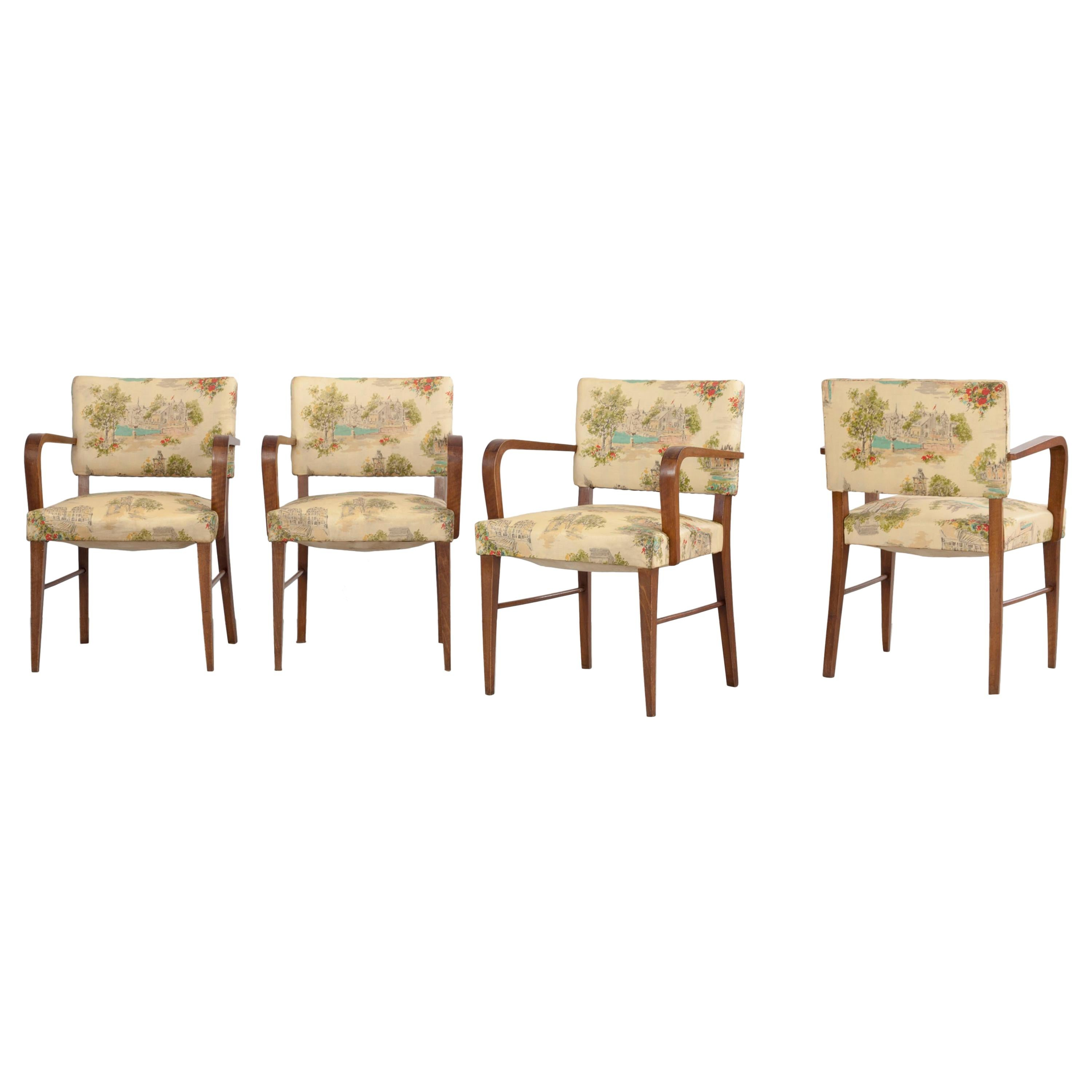 Set of 4 Italian Authentic Armchairs, Chintz Cover and Landscape Scenery, 1930s