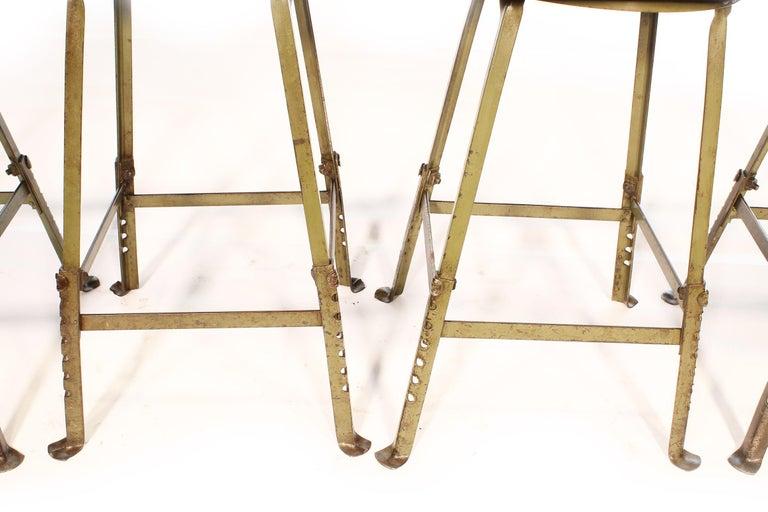 Set of 4 Authentic Vintage Industrial Shop Stools For Sale 4