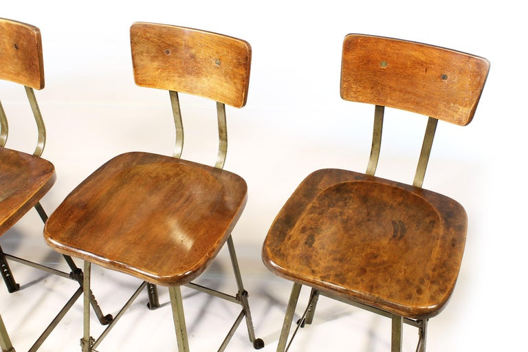 20th Century Set of 4 Authentic Vintage Industrial Shop Stools For Sale