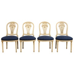 Set of 4 Balloon Back Louis XVI Style Chairs, Attributed to Jansen