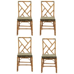 Set of 4 Bamboo and Brass Dining Chairs