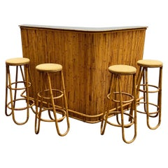 Mid-Century Modern Set of 4 Bamboo Stools and Bar, 1960s