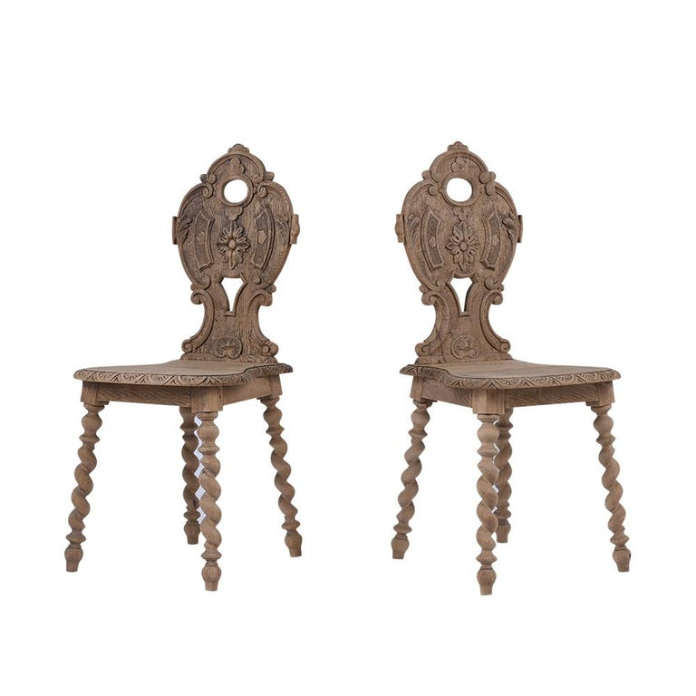 French Set of Carved Baroque Chairs For Sale