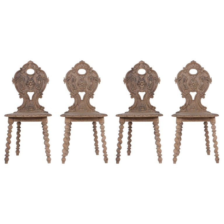 Set of Carved Baroque Chairs For Sale
