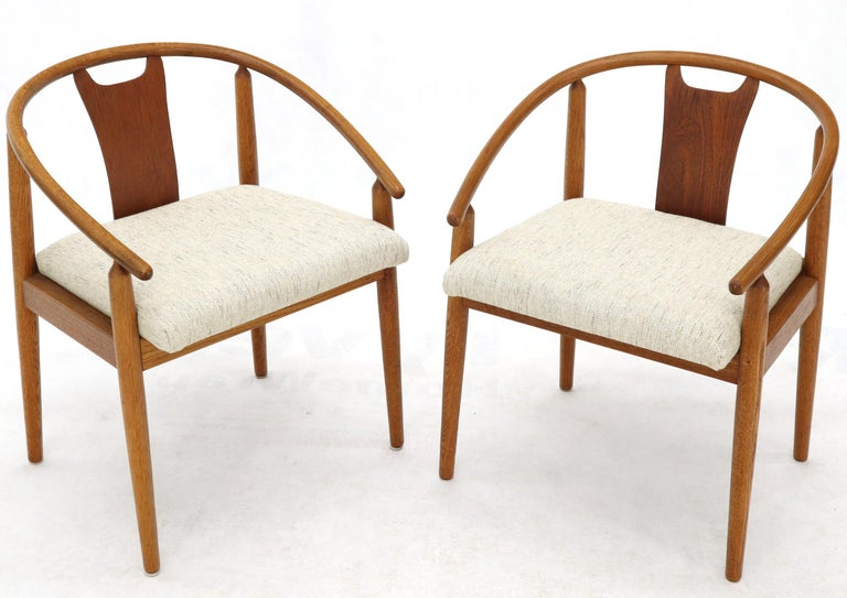 Set of 4 Barrel Back Bent Wood Dining Lounge Chairs New Upholstery For Sale 4