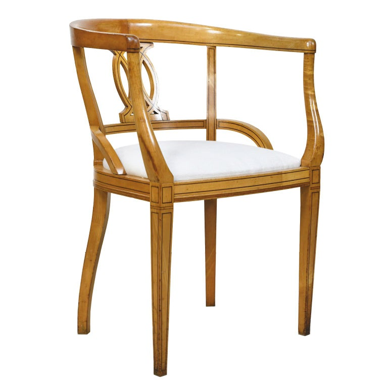 Set of Four Scandinavian Biedermeier Armchairs in Birch, circa 1835 For Sale 3