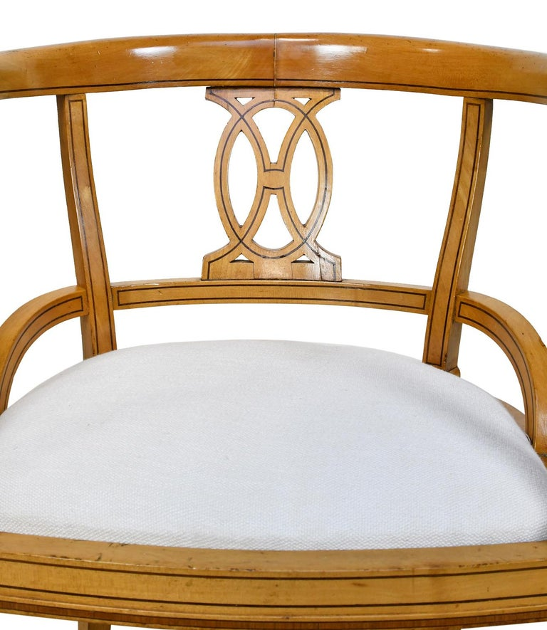 Set of Four Scandinavian Biedermeier Armchairs in Birch, circa 1835 For Sale 4