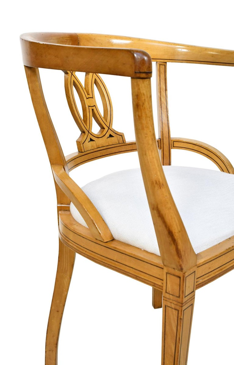Set of Four Scandinavian Biedermeier Armchairs in Birch, circa 1835 For Sale 6