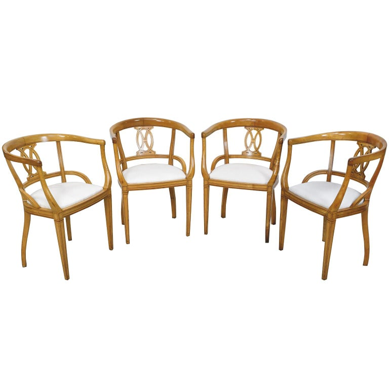 Set of Four Scandinavian Biedermeier Armchairs in Birch, circa 1835 For Sale 11