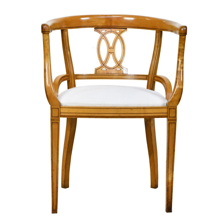Inlay Set of Four Scandinavian Biedermeier Armchairs in Birch, circa 1835 For Sale