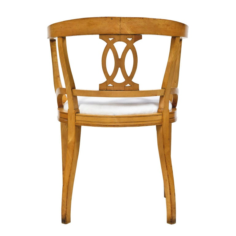 Hardwood Set of Four Scandinavian Biedermeier Armchairs in Birch, circa 1835 For Sale
