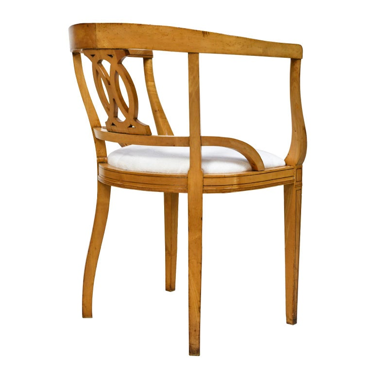 Set of Four Scandinavian Biedermeier Armchairs in Birch, circa 1835 For Sale 1