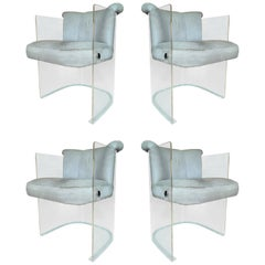 Set of 4 Barrel Chairs in Lucite and Pony Hair Leather