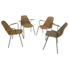 Set of 4 Basket Chairs Designed in 1951 by Swiss Designer Gian Franco Legler