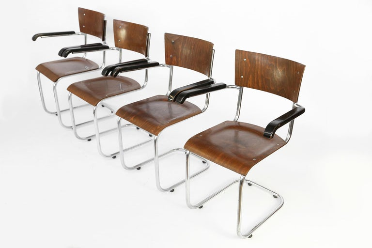 German Set of 4 Bauhaus S43 Armchairs by Mart Stam for Thonet, 1930s For Sale