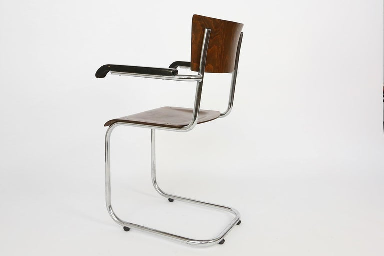 Steel Set of 4 Bauhaus S43 Armchairs by Mart Stam for Thonet, 1930s For Sale