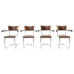 Set of 4 Bauhaus S43 Armchairs by Mart Stam for Thonet, 1930s