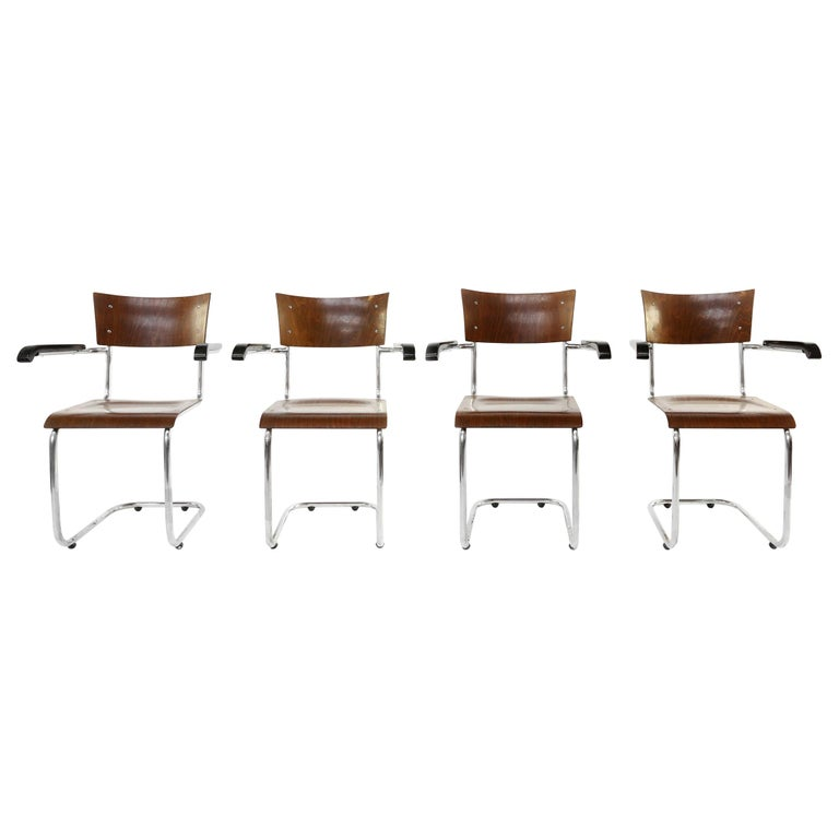 Set of 4 Bauhaus S43 Armchairs by Mart Stam for Thonet, 1930s For Sale