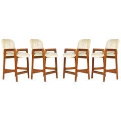 Set of 4 Benny Linden 'Danish Modern' Teak Counter or Bar Stools