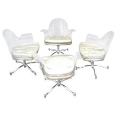 Set of 4 Bent Lucite Dining Chairs on Chrome Bases