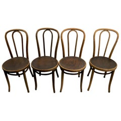 Set of 4 Bentwood Cafe Chairs Attributed to Thonet