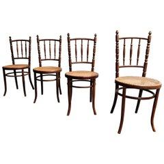 Set of 4 Bentwood Chairs by Jacob U. Josef Kohn, 1930s Austria