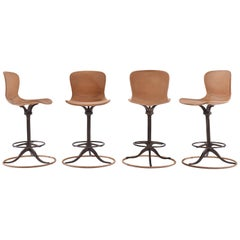 Set of 4 Bespoke, Counter Height, Ring Footrest, Leather Chair, by P.Tendercool